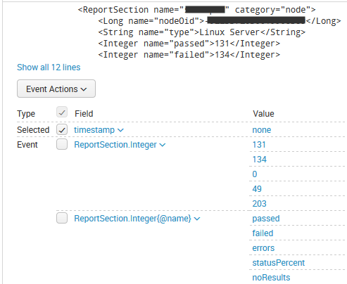 Splunk event example screenshot