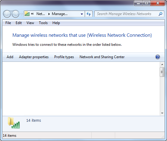 Screenshot of Windows 7 Control Panel Manage Wireless Networks list is empty